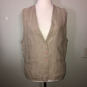 VTG Eileen Fisher Sz M Natural Linen Button Vest